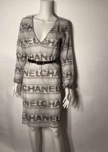 Chanel 05P Spring Cotton Tunic Beach Cover Up Logo Dress FR 38 US 4/6 Vintage