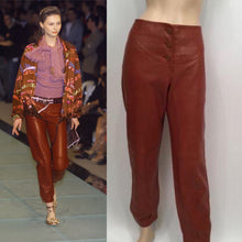 Load image into Gallery viewer, NWT New with Tags Chanel 01A, 2001 Fall Autumn Vintage Leather Pants Leggings Rust Burgundy FR 40 US 2/4/6