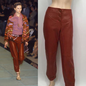 NWT New with Tags Chanel 01A, 2001 Fall Autumn Vintage Leather Pants Leggings Rust Burgundy FR 40 US 2/4/6