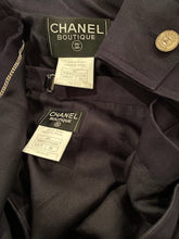 Load image into Gallery viewer, Vintage Chanel 97C 1997 Cruise Resort Dark Navy Fitted Skirt Jacket Suit Set FR 38 US 2/4