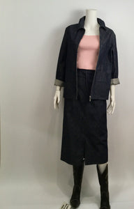Vintage Chanel 99P, 1999 Spring Denim Jacket Skirt Suit Set FR 36 US 4