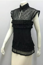 Load image into Gallery viewer, Chanel 04P Spring Black Sheer Lace Pearl Top Blouse lace, pearls,rufflesUS 6