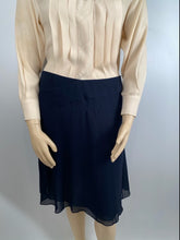 Load image into Gallery viewer, NWT Chanel 06C Navy Blue Silk Chiffon Skirt FR 46 US 14/16