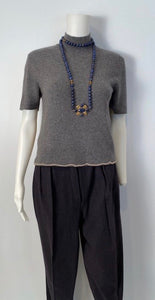 Chanel Vintage 98A, 1998 Fall Cashmere Gray short sleeved sweater top blouse FR 36 US 4