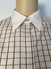 Load image into Gallery viewer, Vintage Chanel Brown Plaid Collar CC Logo Boyfriend Top Blouse US 12