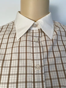Vintage Chanel Brown Plaid Collar CC Logo Boyfriend Top Blouse US 12
