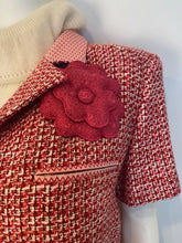 Load image into Gallery viewer, Vintage Chanel 02P, 2002 Spring Pink/Red Short Sleeve Tweed Jacket FR 42