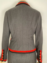 Load image into Gallery viewer, Very Rare Vintage Chanel 94A 1994 Fall Skirt Suit in Grey/Red/Black FR 42 US 6/8