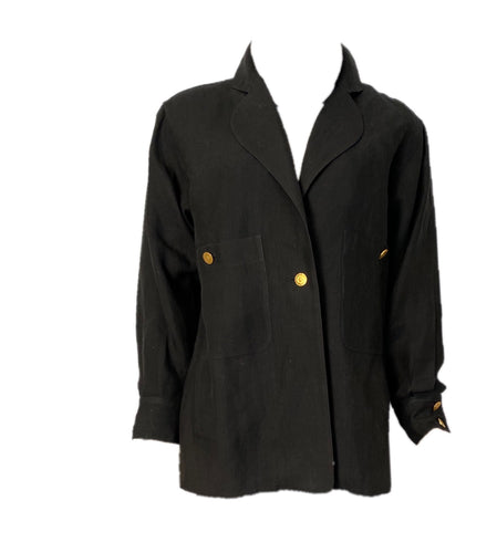 Chanel vintage black linen jacket US 4/6/8/10