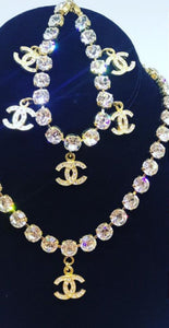 RARE Chanel 96P, 1996 Spring Vintage Gold Metal Crystals CC Bracelet Necklace Set