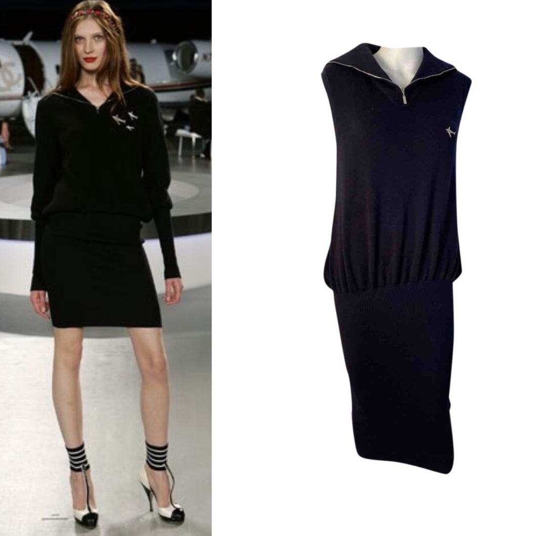 Chanel 08C Coco Line Black Sleeveless Ribbed Blouson Dress FR 38 US 6