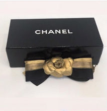 Load image into Gallery viewer, Chanel 12P, 2012 Spring Black Gold Camellia Flower Barrette Hair Accessory Clip