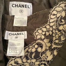 Load image into Gallery viewer, Chanel Vintage 03A, 2003 Fall Autumn Brown Tweed Lace Jacket Blazer Skirt Suit Set FR 48 US 14/16