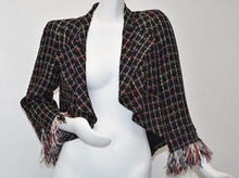 Load image into Gallery viewer, Chanel 11P, 2011 Spring Black Multicolor Tweed Ostrich Feather Trim Blazer Dress Cardigan Jacket FR 38 US 4/6