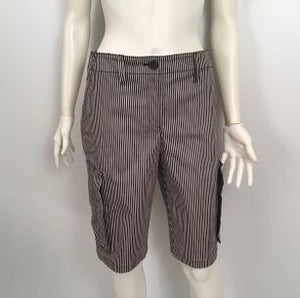 Chanel 08C Cruise Resort Pinstripe Denim Blue cargo Shorts FR 36 US 4