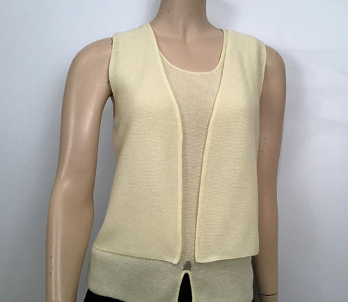Chanel 00C Cruise Resort Pastel Pale Yellow Short Sleeve Twinset Blouse Tank Top FR 36 US 4