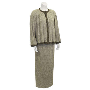 Chanel Vintage 98A, 1998 Fall Tweed Pleated Beige Taupe Jacket Maxi Skirt Set US 4/6