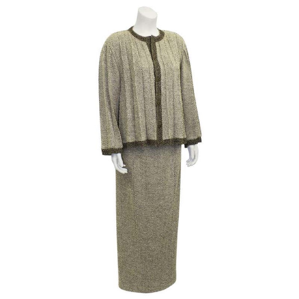98A Chanel Vintage Tweed Pleated Beige Taupe Jacket Maxi Skirt Set US 4/6