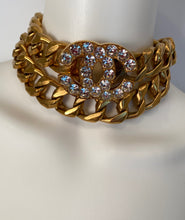 Load image into Gallery viewer, Chanel 95P 1995 Spring vintage belt necklace gold chain rhinestone CC