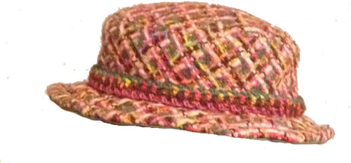 Chanel pink green multicolor wool tweed hat size 57