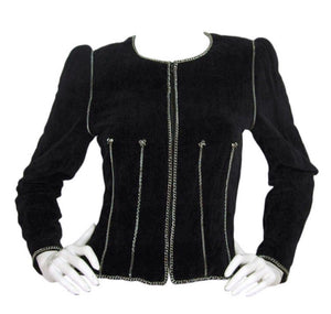 Chanel Vintage 06A Fall Autumn Velvet Cotton Chains Jacket FR 42 US 6/8