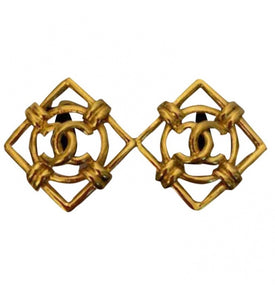 1980 Collection 29 Chanel Vintage Cut Out Oversized Gold Plated CC Logo Clip On Earrings