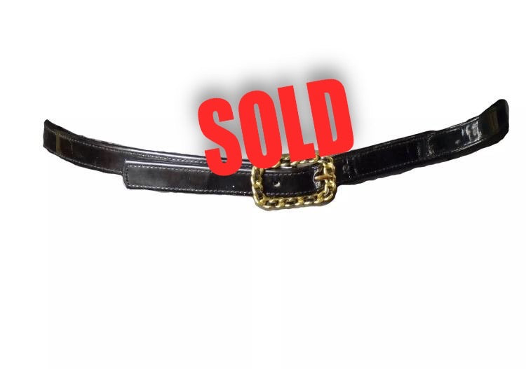 95P Chanel Vintage Skinny Black Patent Leather Woven Gold Chain Belt Sz Small