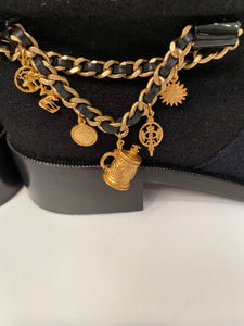 CHANEL 15A Paris Salzburg Charm chains Ankle Boots EU 39.5