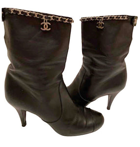 Chanel Black Leather Mid Length Calf CC Chain Logo Boots EU 39.5 US 8.5/9