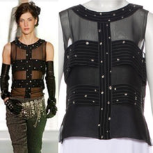 Load image into Gallery viewer, Chanel 2003 Fall 03A Snap Collection black silk chiffon blouse top FR 42 US 6/8