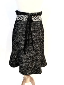 Vintage Chanel 02A, 2002 Fall Crystal Belted Dark Navy/White High Waist Skirt FR 40 US 2/4/6