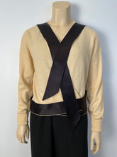 Load image into Gallery viewer, Chanel Vintage 1980's Light Yellow Black Bicolor Wrap Sweater Blouse US 4/6/8