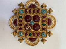 Load image into Gallery viewer, Chanel 11C gold turquoise red Gripoix Stone Brooch Pin
