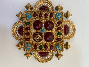 Chanel 11C gold turquoise red Gripoix Stone Brooch Pin