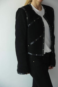 Chanel 2003 Fall 03A Snap Collection black Cropped Boucle Tweed Jacket FR 42 US 4/6/8