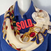 Load image into Gallery viewer, Large Vintage Chanel Jewel Multicolor Print Silk Scarf