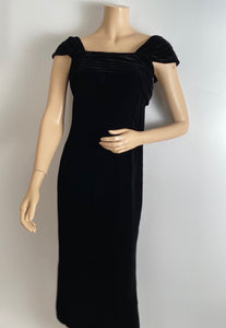 Vintage 1980's Chanel black long velvet gown/dress US 2/4/6