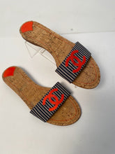 Load image into Gallery viewer, Chanel Stripe denim Summer Slides Orange CC Cork Sandals EU 39.5 US 8.5/9