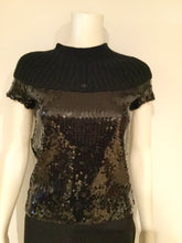Load image into Gallery viewer, Chanel 07A Fall Autumn Black Sequins Short Sleeve ribbed cashmere sweater top blouse FR 38 US 4