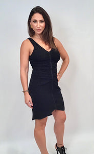 NWT New with Tags Black Chanel Fitted Contour Zip Up Mini Dress FR 40 US 4/6