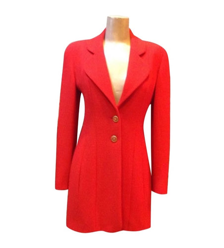 Chanel Vintage 94A Fall Orange/Red Wool Dress Coat Blazer Jacket FR 36 US 4