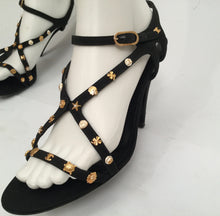 Load image into Gallery viewer, Preowned Chanel Charm Logo Black Grosgrain Strap Sandal Icon Heels EU 39.5 US 8.5/9