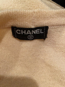 Chanel Vintage 1980's Light Yellow Black Bicolor Wrap Sweater Blouse US 4/6/8