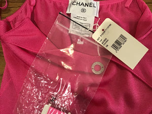 NWT New with Tags Chanel 00T cruise Resort Pink Spaghetti Strap Tank Top Cami FR 38 US 2/4