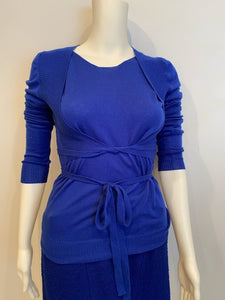 Short Chanel 04A Royal Blue Cashmere long sleeved  Shell Top Blouse cardigan  FR 38