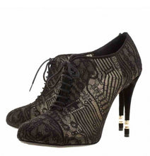 Load image into Gallery viewer, Chanel short boot bootie black lace mesh pearl high heels EU 41 US 10
