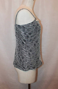 Chanel 05A pearl trim Lace overlay Black Tank Top Blouse FR 40 US 6