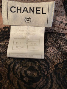 Rare Chanel 03P, 2003 Spring Camellia Flower Pink Black Lace Satin Blouse with matching Skirt Set FR 36 US 4