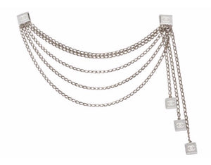 Chanel Vintage 03C Multi Strand Silver Mirror Metal Belt Clip Necklace Accessory