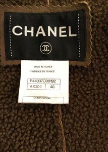 Chanel Brown Long Leather Shearling Coat Jacket FR 40 US 6